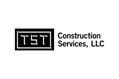 TST Construction Services Logo: Creative Direction, Art Direction, Graphic Design, Custom Lettering